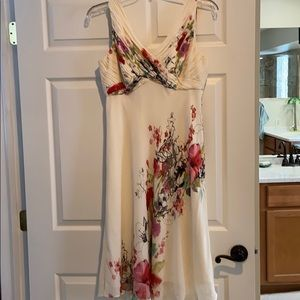 Beautiful floral dress, ivory